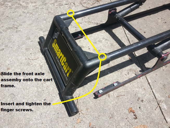 Attach the Front Axle PulseEKKO Pro SmartCart Assembly