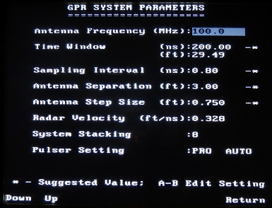 PulseEKKO Pro GPR Parameters Screen