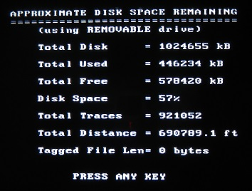 PulseEKKO Pro Approximate Disk Space Remaining Screen