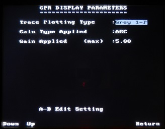 PulseEKKO Pro Display Parameters Screen