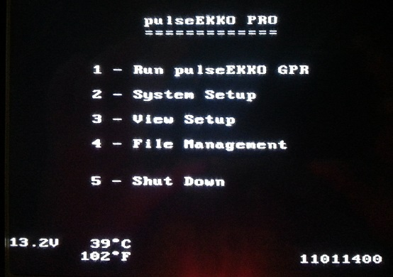 PulseEKKO Pro Main Menu Screen