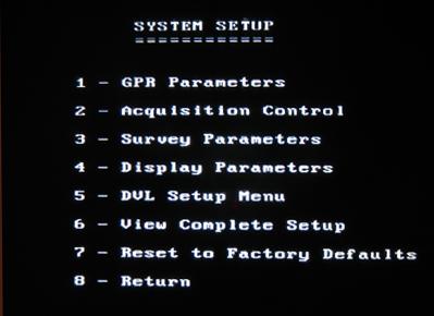 PulseEKKO Pro System Setup Screen