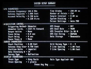 PulseEKKO Pro System Setup Summary Screen