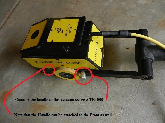 Connect the handle to the PulseEKKO Pro TR1000 v1