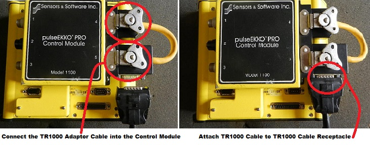 PulseEKKO Pro TR1000 DVL Cable End Not Attached and Attached